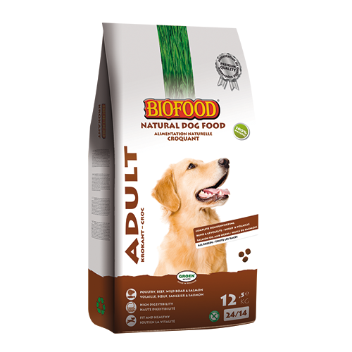 Biofood Adult Krokant, natuurlijke hoogwaardige krokante hondenbrok bevat geen lichaamsvreemde/synthetisch stoffen (waaronder geur-, kleur- en smaakstoffen); milieu- en diervriendelijk (zie vermelding Peta, Stop Dierenleed, Gegarandeerd Dierproefvrij en Dierenbescherming). Biofood hondenvoeding is naast bovengenoemde kenmerken, van constante kwaliteit vanwege de interne en externe controles en bevat uitgebalanceerde grondstoffen als eiwitten, vetten, vitaminen en mineralen.
